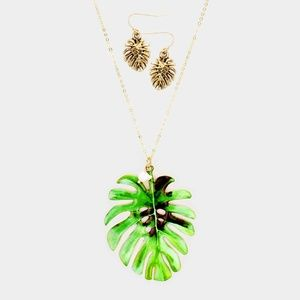 Tropical Leaf Charm Necklace + Earring Set